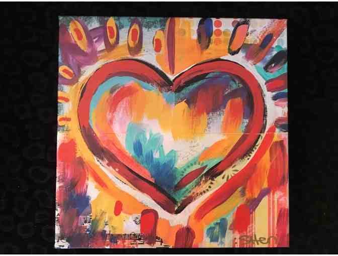 "12""x12"" Heart Painting By Shen - Photo 1"
