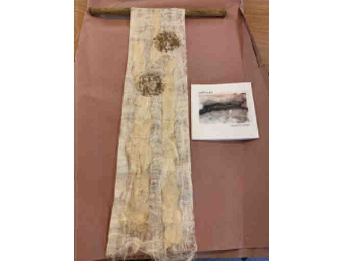 Fiber Wall Hanging and book by Artist in Residence Jacqueline Malllegni