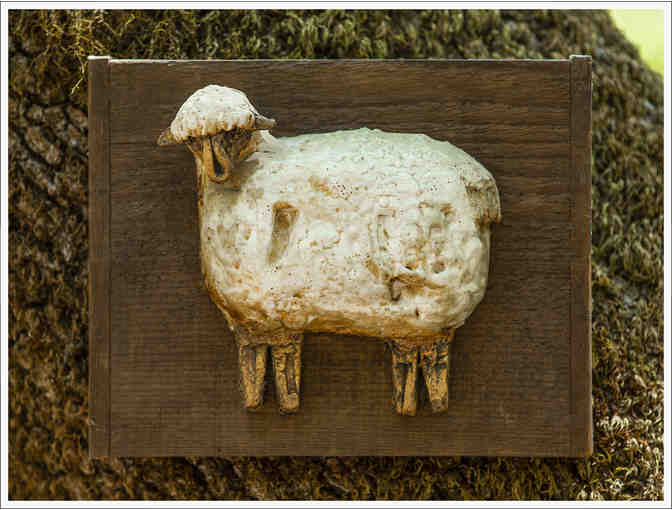 3D Sheep on Dark Wood by Ursula Fahner