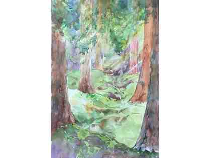 Armstrong Redwoods Watercolor, on location in Armstrong Woods - by Jean Warren