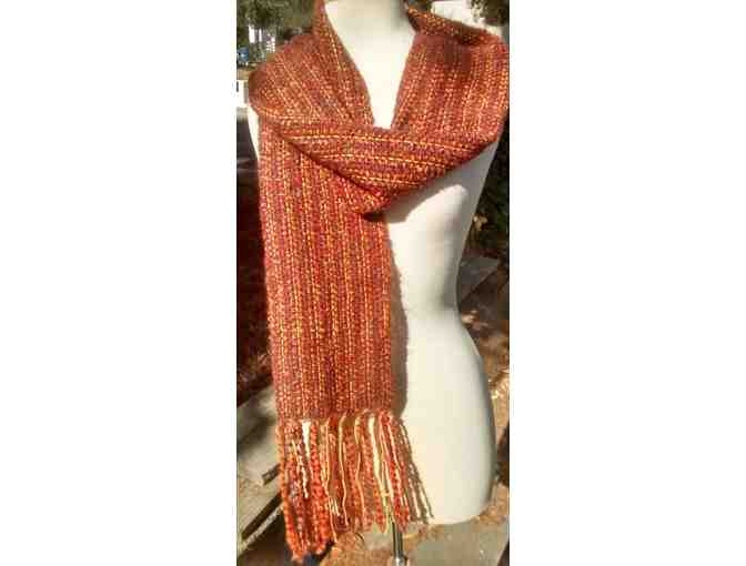 "Abundant, Soft hand-loomed 80"" scarf in Rust Brown and Burnt Umber - Photo 1"