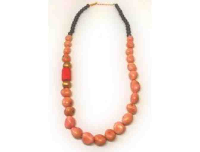 Peach & Brown Beaded Necklace