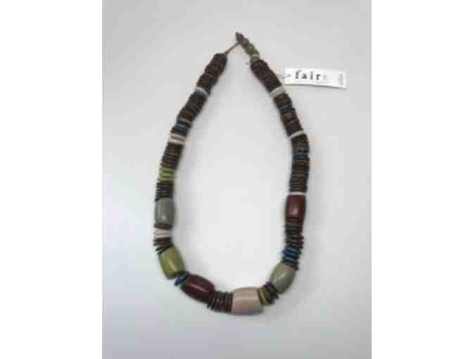 Multi Earth Colors &  Brown Beaded Necklace