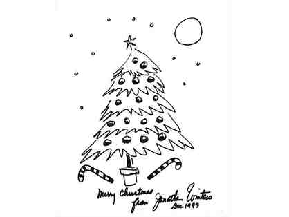 1993 Comedian Jonathan Winters Autographed Signed Hand Drawn Original Christmas Tree Sketch