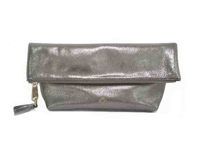 Audrey Foldover Clutch - Metallic Slate - Photo 1