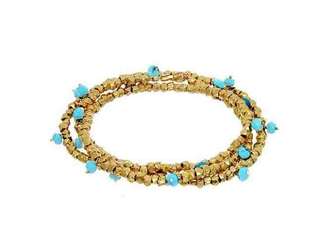 BEADED RONDELLE WRAP BRACELET GOLD TURQUOISE - Photo 1