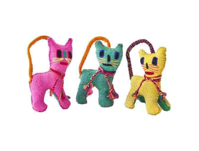 Chiapas Wool Felt Animalitos - Trio Of Cats - Photo 1