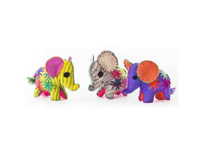 Chiapas Wool Felt Animalitos - Trio Of Elephants - Photo 1