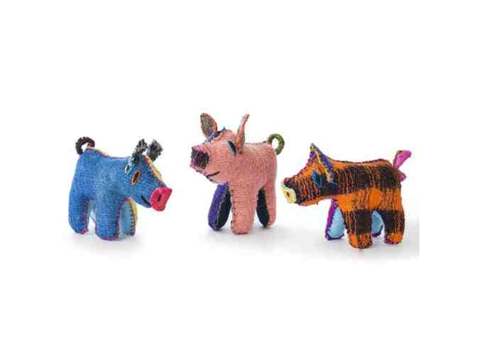 Chiapas Wool Felt Animalitos - Trio Of Piggies - Photo 1