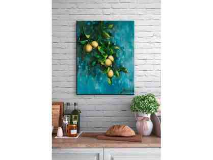 Bunch Of Lemons Print On Watercolor Canvas Wall Art
