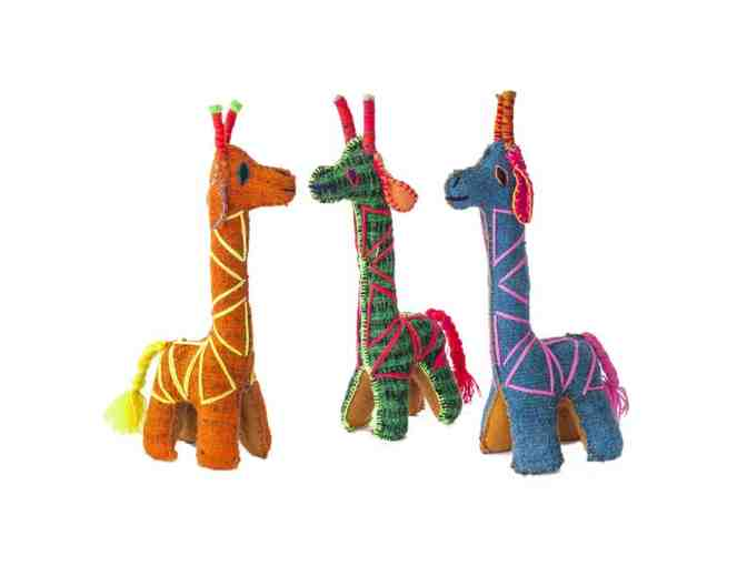 Chiapas Wool Felt Animalitos - Trio Of Giraffes - Photo 1