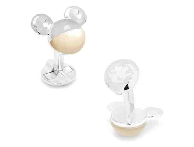 3D Silver Mother of Pearl Mickey Mouse Cufflinks