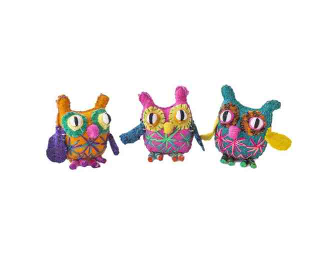 Trio Of Chiapas Wool Felt Animalitos - Owls - Photo 1
