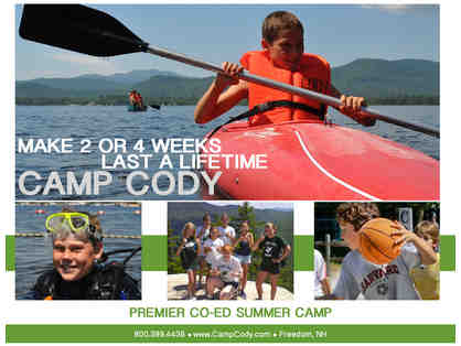 Camp Cody (Dover, New Hampshire): $1,850 gift card (New families only) (Code: 0000)
