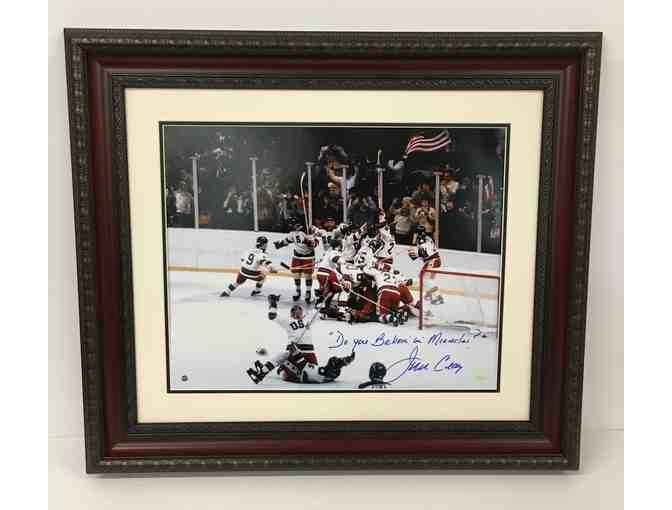 1980 USA Olympic Hockey 'Do You Believe in Miracles?' Photograph Hand Signed by Jim Craig