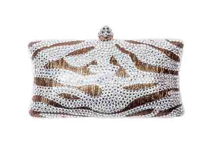 Animal Instinct Clutch Bronze Clutch with Crystal Zebra Print