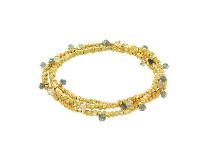 BEADED RONDELLE WRAP BRACELET GOLD SAPPHIRE - Photo 1