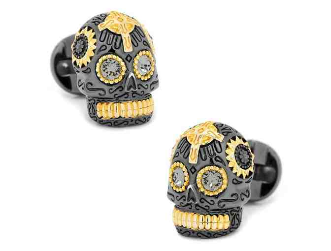 Black and Gold Vermeil Day of the Dead Skull Cufflinks - Photo 1