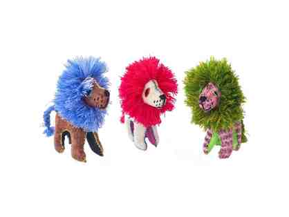 Chiapas Wool Felt Animalitos - Trio Of Lions