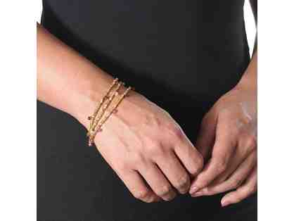 BEADED RONDELLE WRAP BRACELET GOLD RUBY