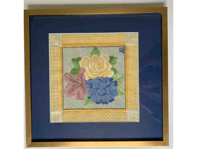 Framed Needlepoint by Anne Connerton - Blue & Yellow Floral