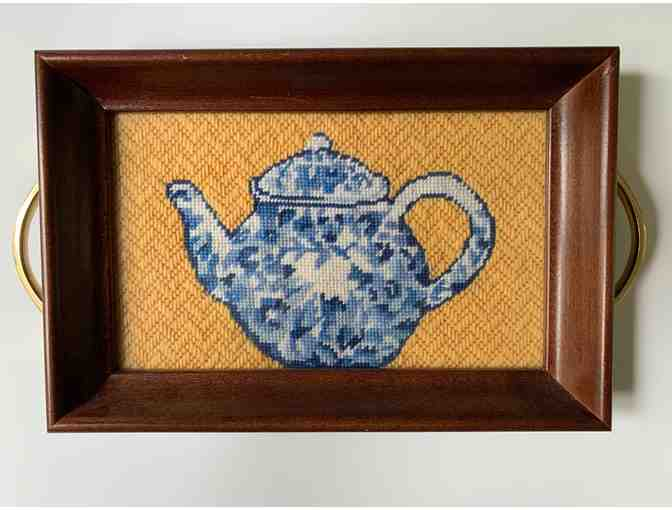 Framed Needlepoint Tray by Anne Connerton - English Tea Pot