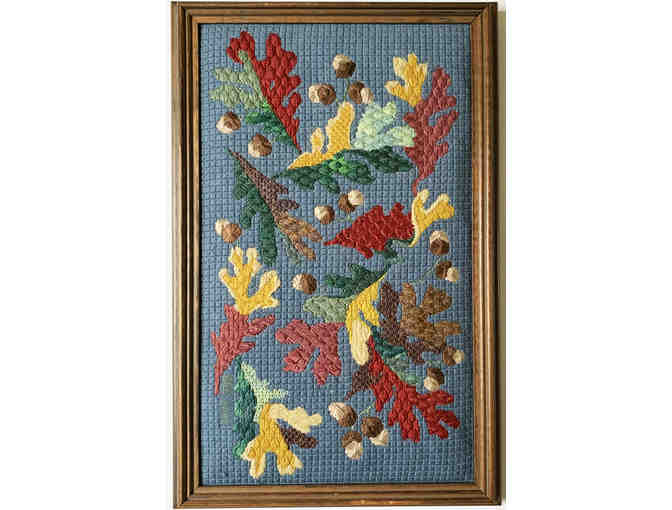 Framed Needlepoint by Anne Connerton - Fall Leaf Study