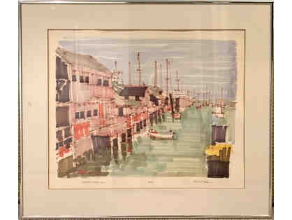 Nantucket Wharf 1983, Signed Print by Richard Gerstman