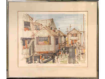 Swain's Wharf Nantucket 1984, Signed Print by Richard Gerstman