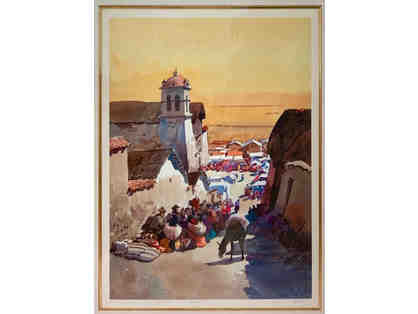 Peruvian Street Scene, Signed Giclee Print by Unknown Artist