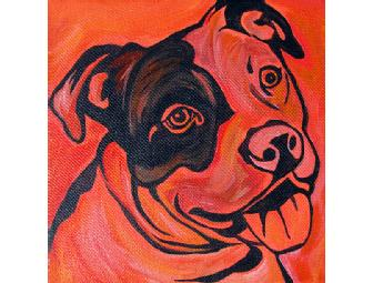 Smilin' Pit Bull on canvas