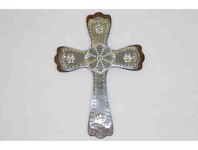 Stamped Tin Cross with Rosetta Design