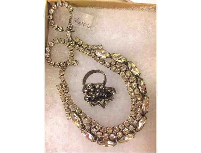 Vintage Rhinestone Necklace & Ring