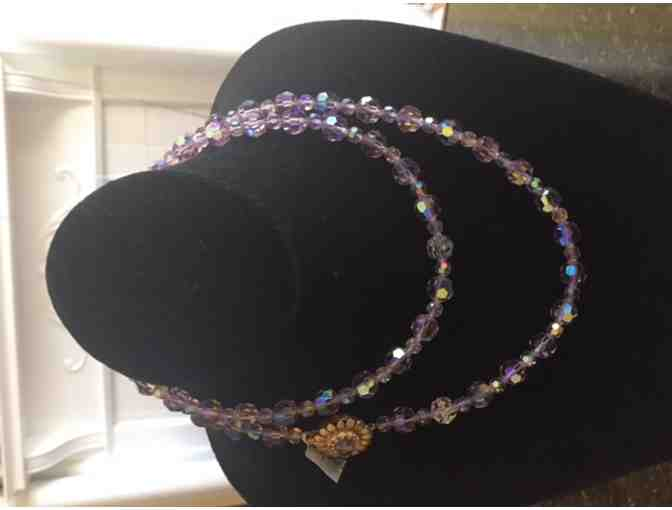 Jud Green 1950's lavender swarovski crystal necklace