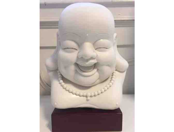 Ceramic Buddha Bust with Stand