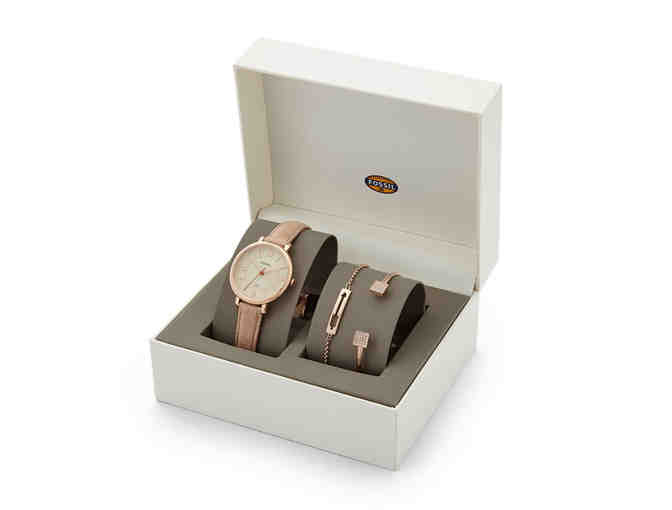 Fossil Jacqueline Leather Watch and Jewelry Box Set