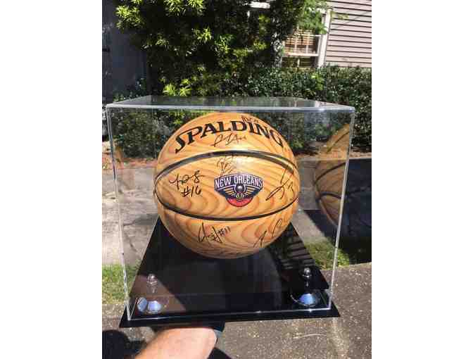 New Orleans Pelicans autographed basketball & display case