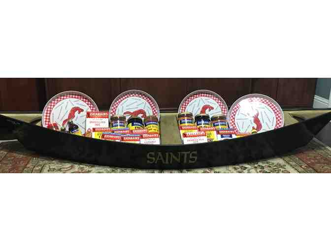 Saints Crawfish Serving Boat Filled w/ Zataran's gift Items