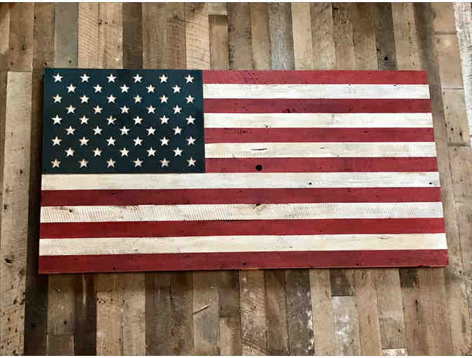 Custom American Flag made out of 150 year old reclaimed Wood and Steel