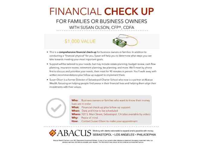 Financial Planning Check-up and Follow-Up Support with Susan Olson, CFP, CDFA
