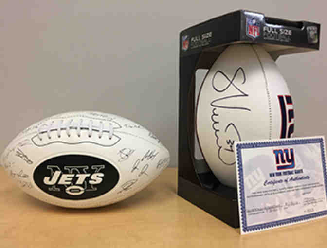 NEW YORK FOOTBALL FAN PACKAGE: Two Signed Footballs from the Giants and Jets!