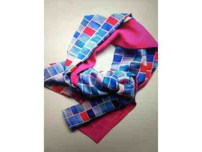 CLOTHES: Narrow Vivid Pink Mapping Pi Scarf by Isa Catto