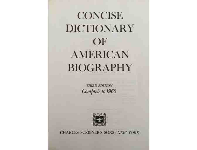 Concise Dictionary of American Biography; Complete to 1960. Third Edition