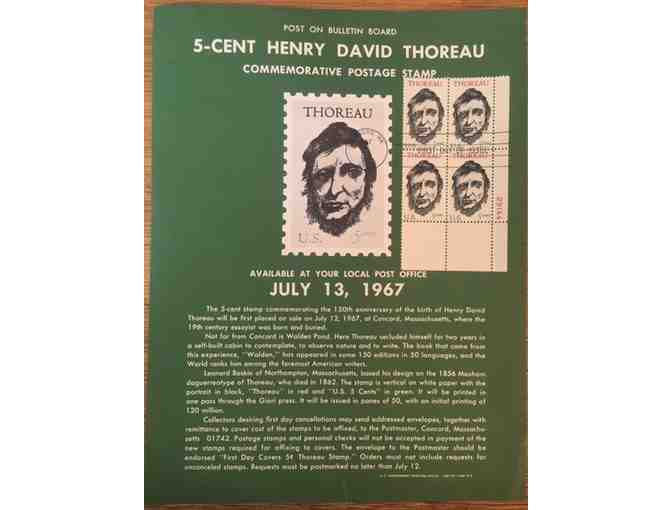 1967 Thoreau Commemorative Stamp Flier + (4) First Day Issue Stamps