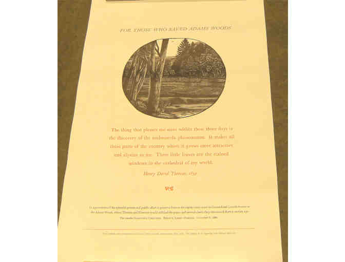 Adams Woods poster with Michael McCurdy wood engraving & Thoreau quote - Photo 1