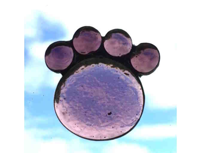 Artisan-Crafted Stained Glass Paw - Amethyst - Photo 1