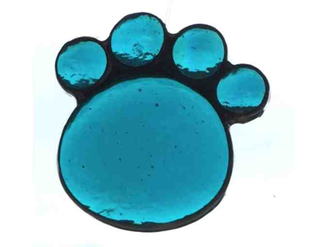 Artisan-Crafted Stained Glass Paw - Turquoise - Photo 1