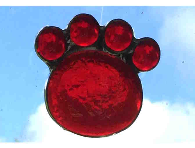 Artisan-Crafted Stained Glass Paw - Ruby - Photo 1