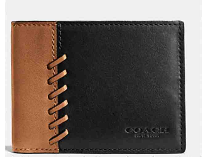 COACH RIP AND REPAIR SLIM BILLFOLD WALLET  BLACK/SADDLE - Photo 1