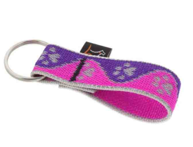 Lupine Pet Keychain - Reflective Keychain - Purple/Pink Paws - Photo 1